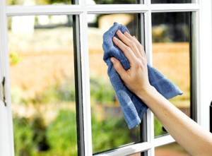 Windows Being Cleaned With a Towel in Chandler, AZ
