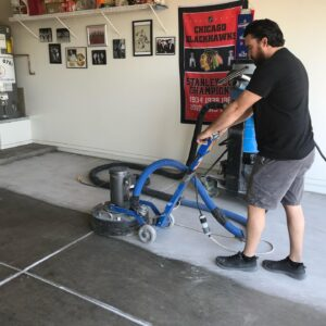 Our Nashville team is Getting the cement ready for an epoxy coating